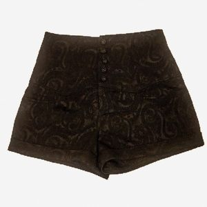 FOREVER Black Lace High Waisted Shorts Size: Small